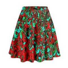 Red Turquoise Abstract Background High Waist Skirt