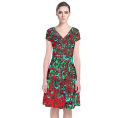Red Turquoise Abstract Background Short Sleeve Front Wrap Dress