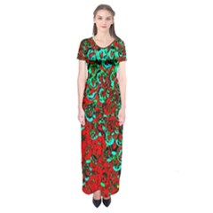 Red Turquoise Abstract Background Short Sleeve Maxi Dress