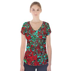 Red Turquoise Abstract Background Short Sleeve Front Detail Top