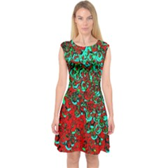Red Turquoise Abstract Background Capsleeve Midi Dress
