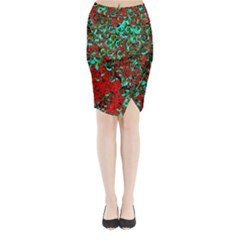 Red Turquoise Abstract Background Midi Wrap Pencil Skirt