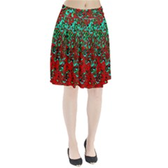 Red Turquoise Abstract Background Pleated Skirt