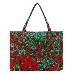 Red Turquoise Abstract Background Medium Tote Bag