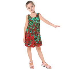 Red Turquoise Abstract Background Kids  Sleeveless Dress