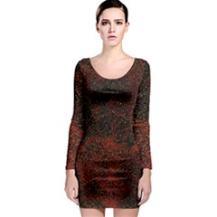 Olive Seamless Abstract Background Long Sleeve Bodycon Dress