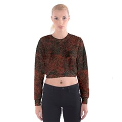Olive Seamless Abstract Background Women s Cropped Sweatshirt