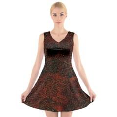 Olive Seamless Abstract Background V Neck Sleeveless Skater Dress