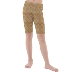 Chess Dark Wood Seamless Kids  Mid Length Swim Shorts