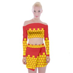 Firewall Bridge Signal Yellow Red Off Shoulder Top With Skirt Set