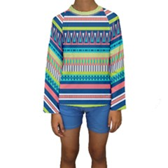 Aztec Triangle Chevron Wave Plaid Circle Color Rainbow Kids  Long Sleeve Swimwear