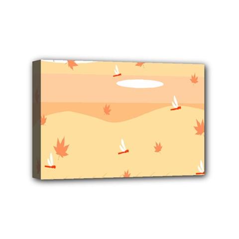 Dragonfly Leaf Orange Mini Canvas 6  x 4