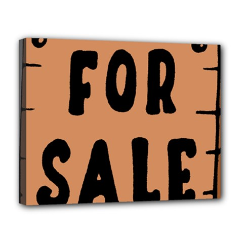 For Sale Sign Black Brown Canvas 14  x 11