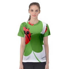 Insect Flower Floral Animals Green Red Women s Sport Mesh Tee