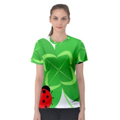 Insect Flower Floral Animals Green Red Line Women s Sport Mesh Tee
