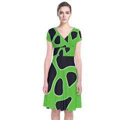 Abstract Shapes A Completely Seamless Tile Able Background Short Sleeve Front Wrap Dress