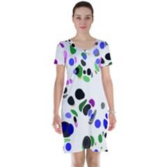 Colorful Random Blobs Background Short Sleeve Nightdress