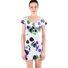 Colorful Random Blobs Background Short Sleeve Bodycon Dress
