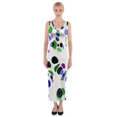 Colorful Random Blobs Background Fitted Maxi Dress