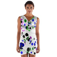 Colorful Random Blobs Background Wrap Front Bodycon Dress