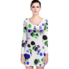 Colorful Random Blobs Background Long Sleeve Velvet Bodycon Dress