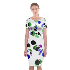 Colorful Random Blobs Background Classic Short Sleeve Midi Dress