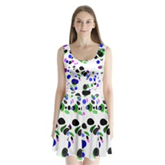 Colorful Random Blobs Background Split Back Mini Dress
