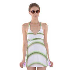 Abstract Background Halter Swimsuit Dress