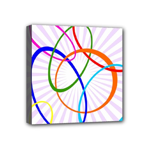 Abstract Background With Interlocking Oval Shapes Mini Canvas 4  X 4
