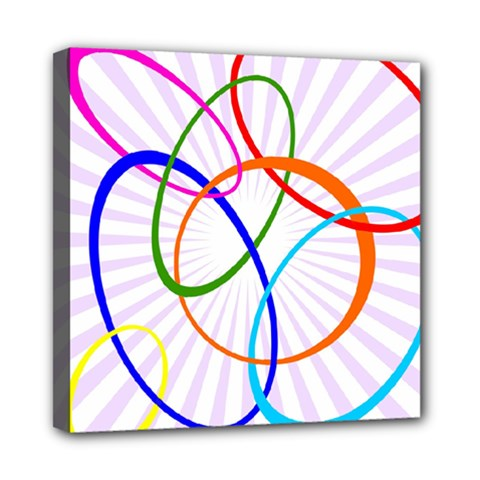 Abstract Background With Interlocking Oval Shapes Mini Canvas 8  x 8