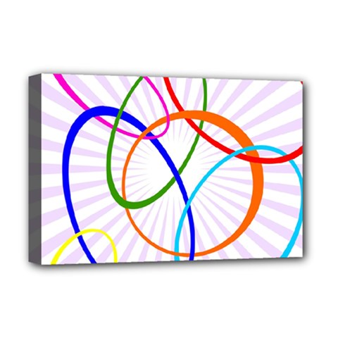 Abstract Background With Interlocking Oval Shapes Deluxe Canvas 18  x 12