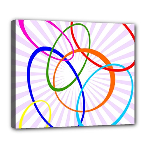 Abstract Background With Interlocking Oval Shapes Deluxe Canvas 24  x 20