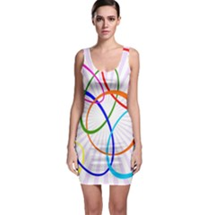 Abstract Background With Interlocking Oval Shapes Sleeveless Bodycon Dress