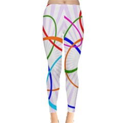 Abstract Background With Interlocking Oval Shapes Leggings