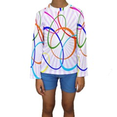 Abstract Background With Interlocking Oval Shapes Kids  Long Sleeve Swimwear