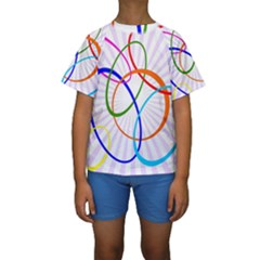 Abstract Background With Interlocking Oval Shapes Kids  Short Sleeve Swimwear