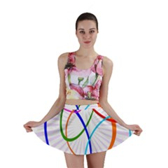 Abstract Background With Interlocking Oval Shapes Mini Skirt
