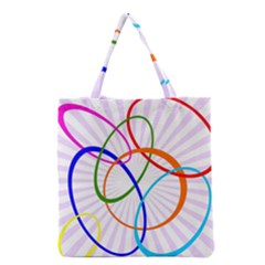 Abstract Background With Interlocking Oval Shapes Grocery Tote Bag