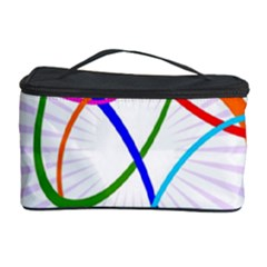 Abstract Background With Interlocking Oval Shapes Cosmetic Storage Case
