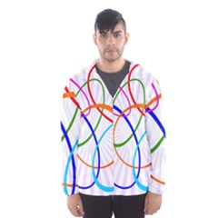 Abstract Background With Interlocking Oval Shapes Hooded Wind Breaker (men)