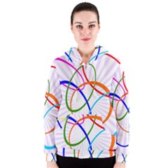 Abstract Background With Interlocking Oval Shapes Women s Zipper Hoodie