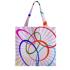 Abstract Background With Interlocking Oval Shapes Zipper Grocery Tote Bag