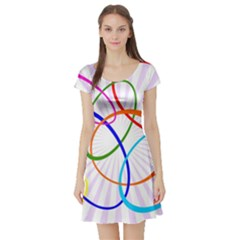 Abstract Background With Interlocking Oval Shapes Short Sleeve Skater Dress