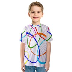 Abstract Background With Interlocking Oval Shapes Kids  Sport Mesh Tee