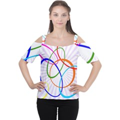 Abstract Background With Interlocking Oval Shapes Women s Cutout Shoulder Tee