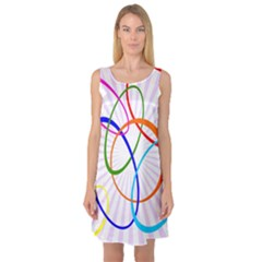 Abstract Background With Interlocking Oval Shapes Sleeveless Satin Nightdress