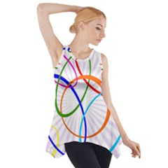 Abstract Background With Interlocking Oval Shapes Side Drop Tank Tunic