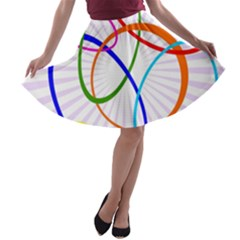 Abstract Background With Interlocking Oval Shapes A-line Skater Skirt
