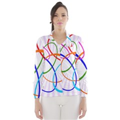 Abstract Background With Interlocking Oval Shapes Wind Breaker (Women)