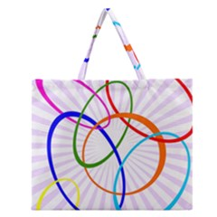 Abstract Background With Interlocking Oval Shapes Zipper Large Tote Bag